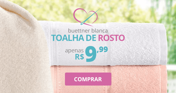 Toalha de Rosto para Bordar Buettner Blanca | Apenas R$ 9,99 | Clube de Bordar | Compre Agora!