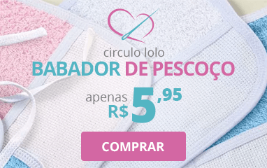 Babador com Felpa Colorida e Viés Branco Círculo Lolo | Apenas R$5,95 | Clube de Bordar | Compre Agora!