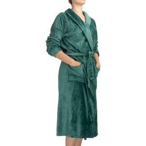 roupao-feminino-flannel-com-manga-tamanho-P-atlantica-sofisticata-premium-verde-esmeralda-detalhe