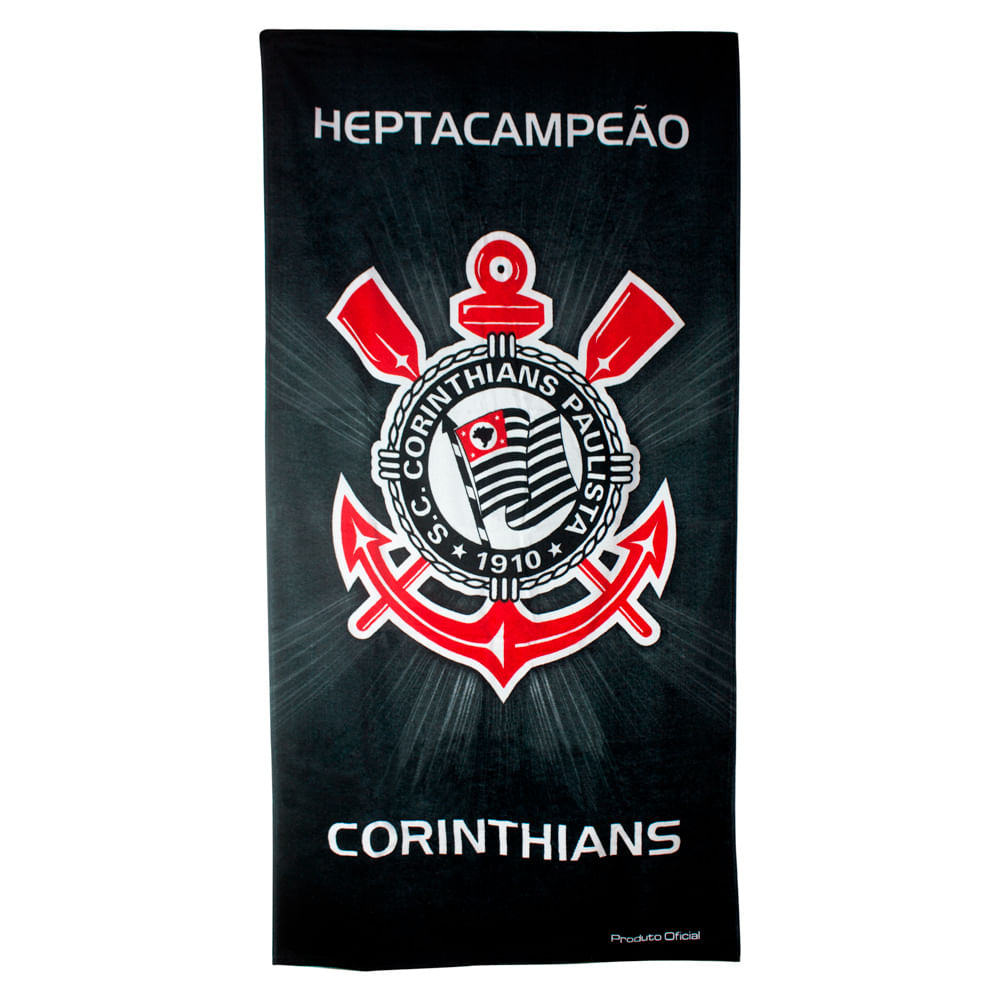 4bc487df4f ... Estampada 70x140cm 360g m² Buettner Licenciada Brasão Corinthians.  Toalhas de Times de Futebol. toalha-de-banho-times-de-futebol-buettner -linha-