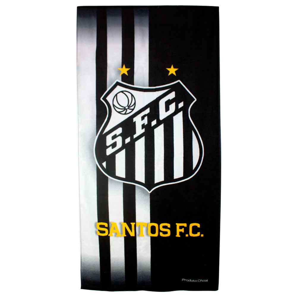 87737222ea ... Aveludada Estampada 70x140cm 360g m² Buettner Licenciada Brasão Santos.  Toalhas de Times de Futebol. toalha-de-banho-times-de-futebol-buettner -linha-