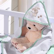 toalha-com-capuz-para-bebe-de-plush-felpudo-bordada-com-vies-dog-verde-buettner-baby-vitrine