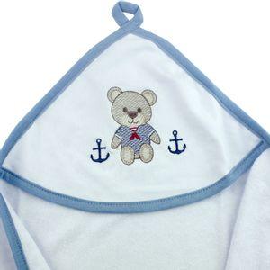 toalha-com-capuz-para-bebe-de-plush-felpudo-bordada-com-vies-teddy-azul-buettner-baby-detalhe