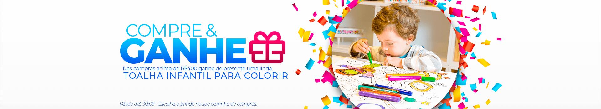 Compre e Ganhe uma Linda Toalha Infantil para Colorir | Loja Buettner | Aproveite!