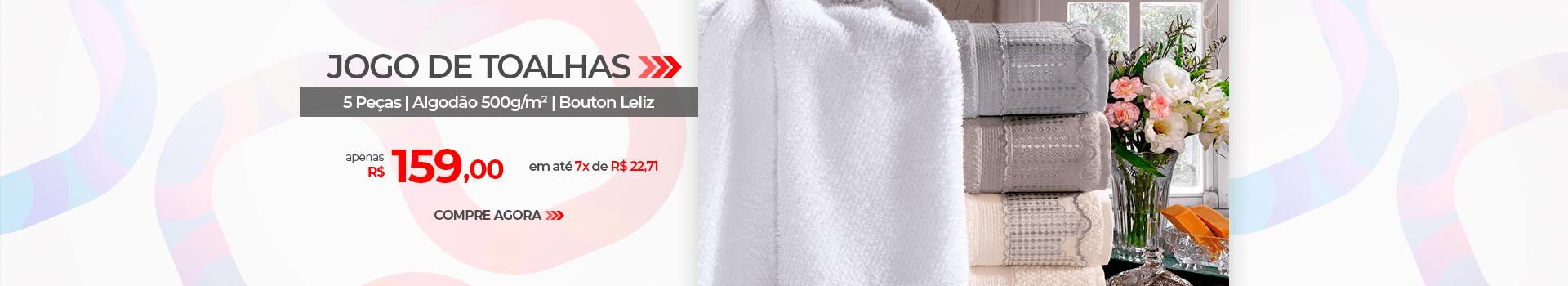 Jogo de Toalhas 5 peças Bouton Leliz | Apenas R$ 159,00 | Loja Buettner | Compre Agora!