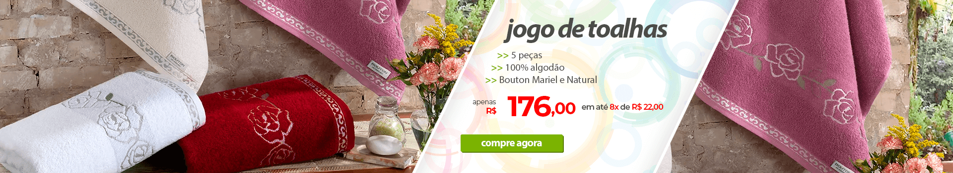 Jogo de Toalhas 5 Peças Bouton Mariel e Natural | Apenas R$176,00 | Loja Buettner | Compre Agora!