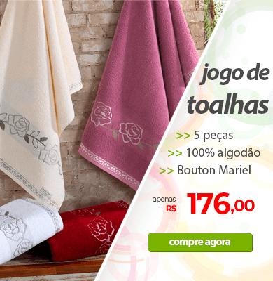Jogo de Toalhas 5 Peças Bouton Mariel e Natural   Apenas R$176,00   Loja Buettner   Compre Agora!