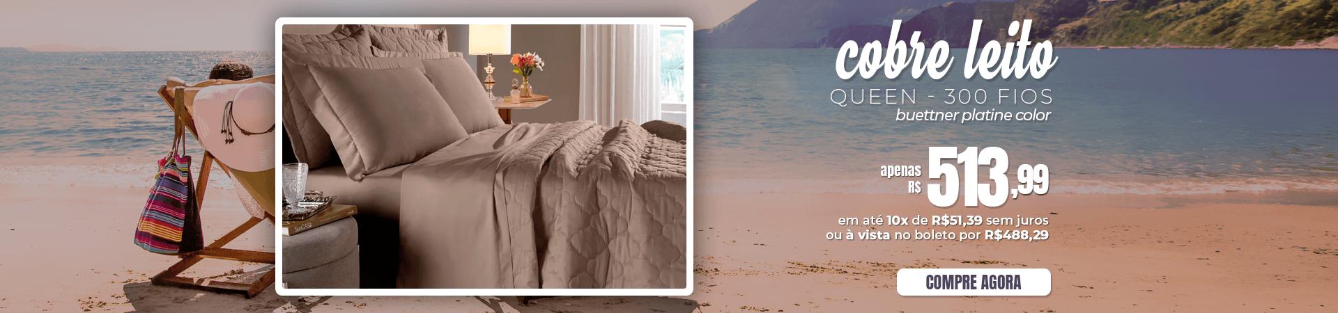 Kit Cobreleito Queen Size 300 fios Buettner Platine Color | Verão 2019 | Loja Buettner | Aproveite!