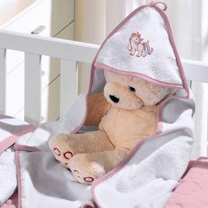 toalha-com-capuz-felpudo-para-bebe-bordada-com-vies-unicornio-rosa-buettner-baby-vitrine
