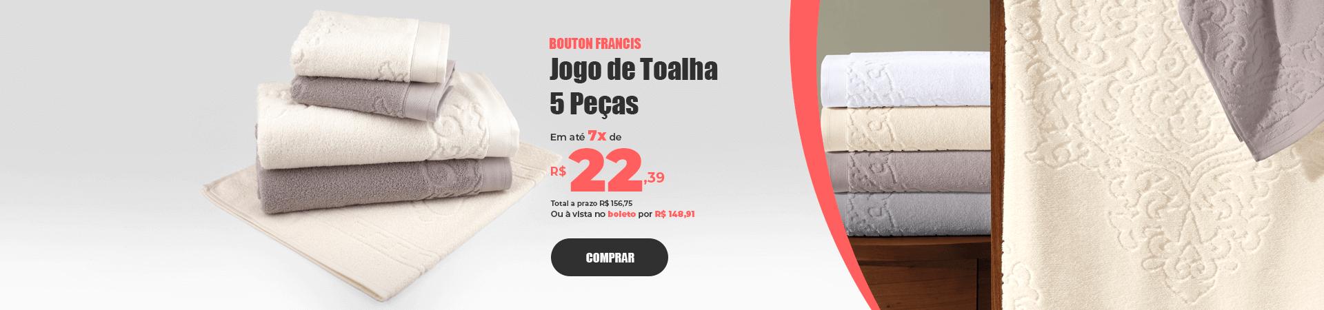 Jogo de Toalhas 5 Peças em Algodão 460g/m² Bouton Francis >> Loja Buettner | Comprar Agora!
