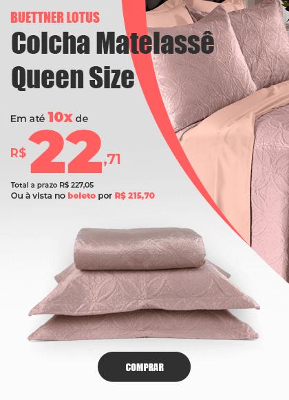 Colcha Microfibra Queen Size em Matelassê sem Costura com Dois Porta Travesseiros Buettner Lotus >> Loja Buettner | Comprar Agora!